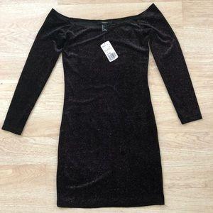 Forever 21 Black Velvet With Sparkle Mini Dress
